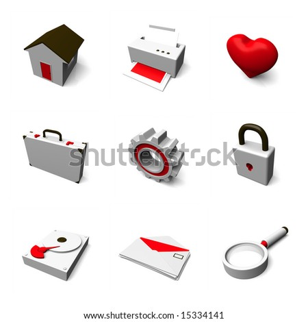 professional 3d icon set 01 - stock photo