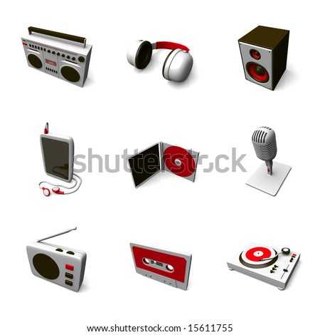 professional 3d icon set 02 - stock photo