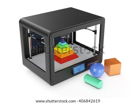 professional 3d printer on white background, with coloured objects (3d render) - stock photo