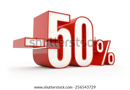 Professional 3D type render of 50% discount in red white colors. Available in XXXL resolution - stock photo
