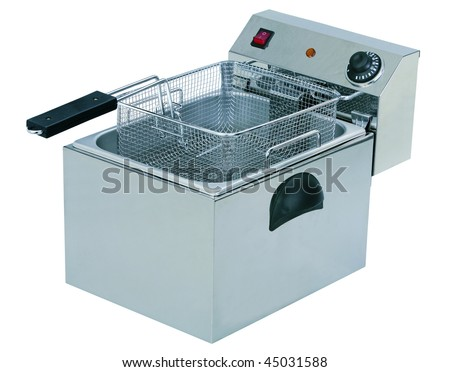 Professional deep fryer isolated on white background - stock photo