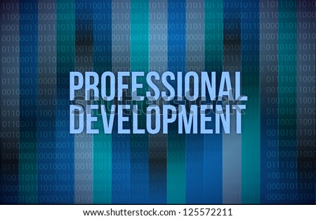 professional development concept binary illustration design blue background - stock photo