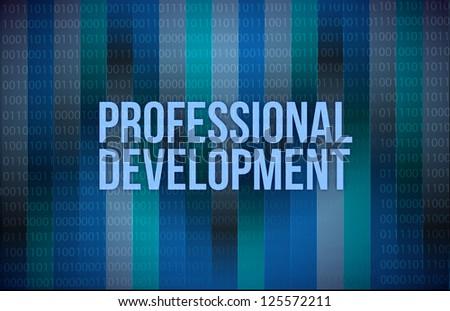professional development concept binary illustration design blue background - stock photo