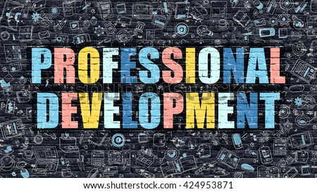 Professional Development Concept. Professional Development Drawn on Dark Wall. Professional Development in Multicolor. Professional Development Concept in Modern Doodle Style.