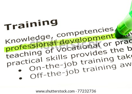 Professional development highlighted in green, under the heading Training. - stock photo
