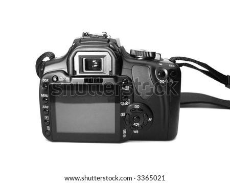 Professional digital camera over white background - stock photo