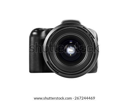 professional digital photo camera isolated on white. - stock photo