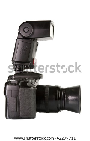 Professional digital photo camera with external flash side view