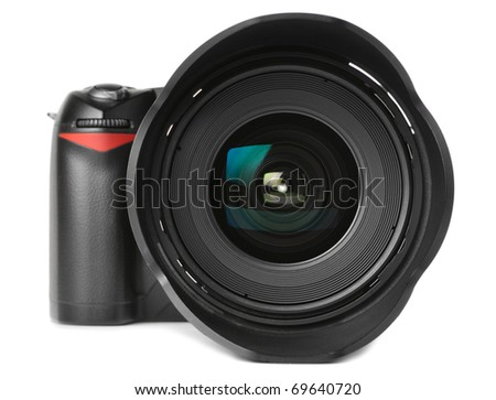 professional digital photo camera with huge wide angle lens isolated on white - stock photo