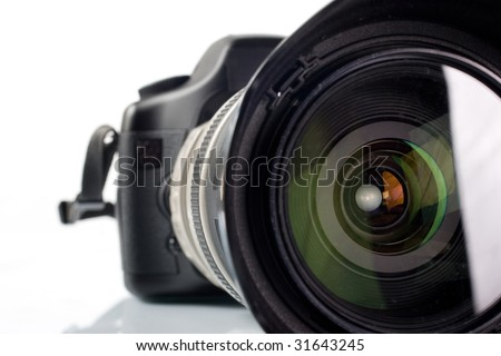 Professional digital photo camera with tele lenses - stock photo