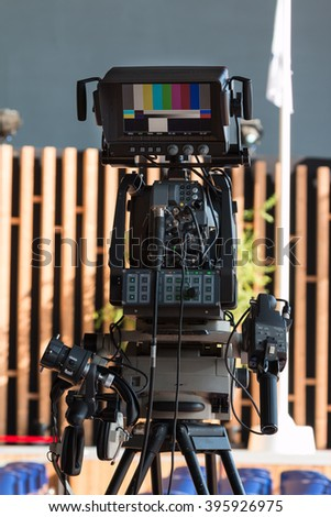 Professional Digital Video Camera for Tv News Broadcasting - stock photo