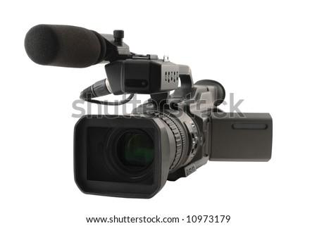 Professional digital video camera on white background - stock photo