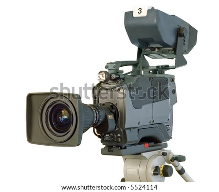 Professional digital video camera. (With Clipping Path)