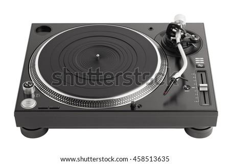 professional dj turntable isolated on white - stock photo