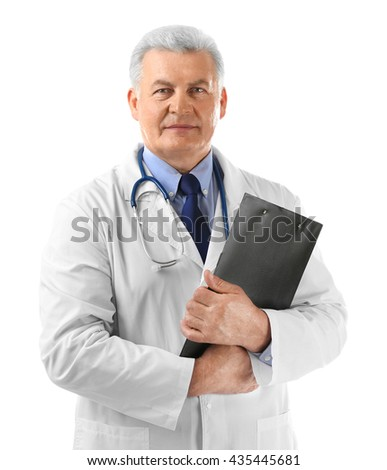 Professional doctor with clipboard, isolated on white - stock photo