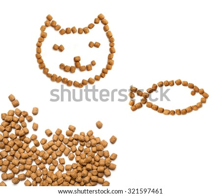 Professional dry cat food forming smiling cat's face and food with tuna forming a fish with heap of chunks in the corner. Healthy organic pet food isolated over white. - stock photo