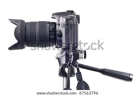 Professional DSLR Camera on Tripod Side View - stock photo