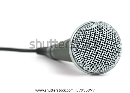 Professional dynamic microphone  isolated on the white background - stock photo
