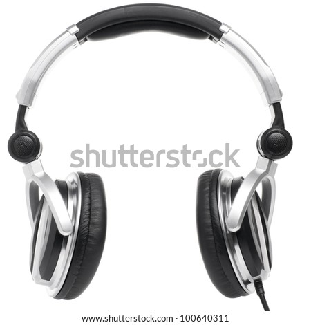 professional earphones isolated on white