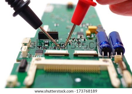 professional engineer discovering electronic failure - stock photo