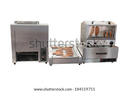Professional equipment for hot dog preparation - stock photo