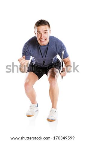 Professional fitness coach isolated on white background - stock photo