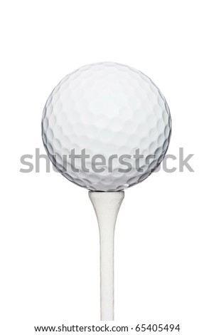 professional golf ball on a wooden tee, against white background - stock photo