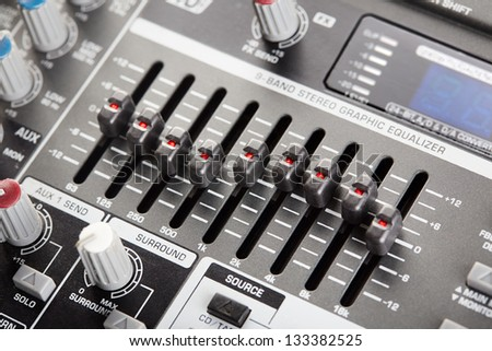 Professional graphic audio equalizer close-up - stock photo