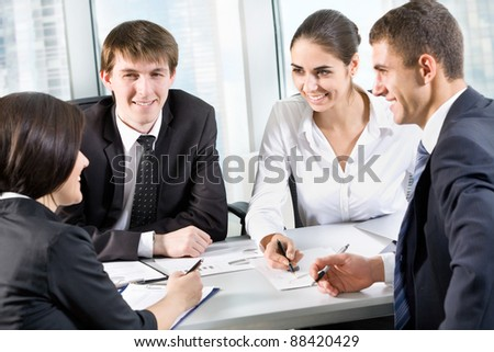 Professional group of business people at a meeting - stock photo