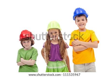 Professional guidance day - kids with hard hats, isolated