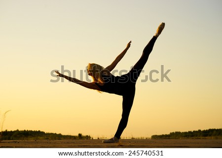 Professional gymnast woman dancer in black clothing - stock photo