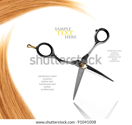 professional hairdresser scissors with reflection and hair - stock photo