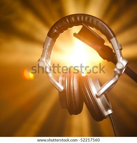 professional headphones - stock photo