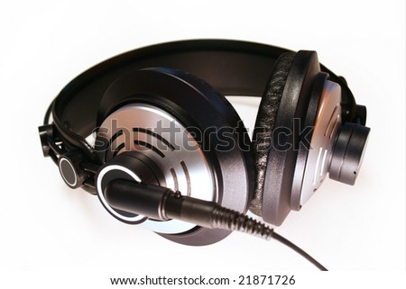 professional headphones on a white background