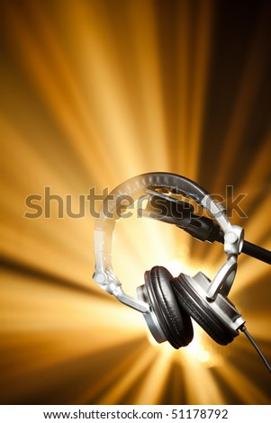 professional headphones with copy-space - stock photo