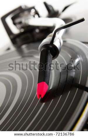 Professional hip hop DJ analog audio equipment.Old dj turntables playing vinyl record with music.Retro disc jockey hi-fi setup.Turntables needle in focus.Play music,scratch hip hop records with music