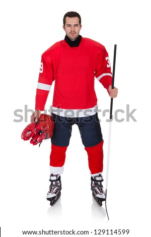 Professional hockey player after game. Isolated on white - stock photo