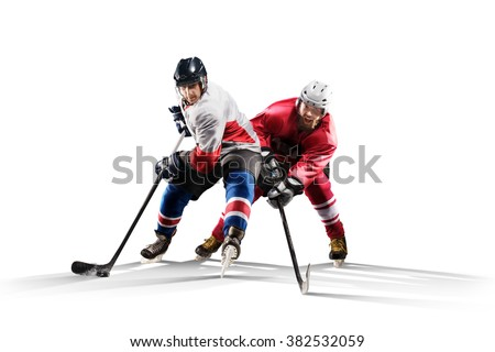 Professional hockey player skating on ice. Isolated in white - stock photo