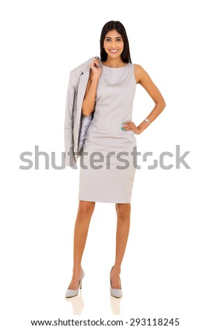 professional indian businesswoman carrying a jacket isolated on white - stock photo