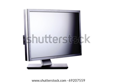 professional ips panel lcd monitor, isolated on white - stock photo