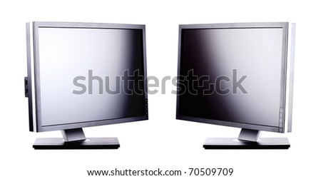 professional ips panel lcd monitors, isolated on white - stock photo