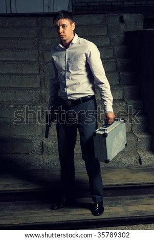 professional killer on the street - stock photo