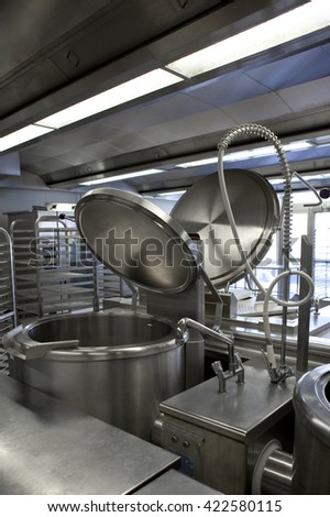 Professional kitchen and equipment in a canteen