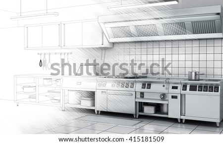 Professional kitchen and equipment on surface half-painted. View surface in stainless steel. - stock photo