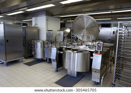 Professional kitchen in a canteen for collectivity - stock photo