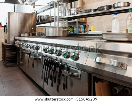 Professional kitchen interior, crock on stove