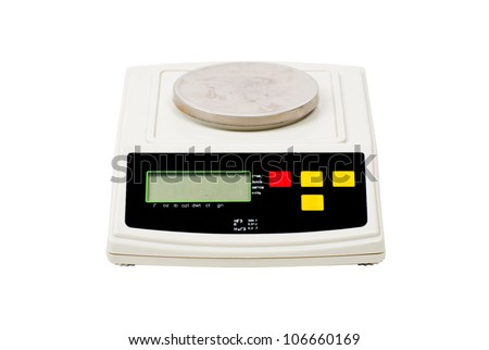 Professional laboratory scale on a white background - stock photo