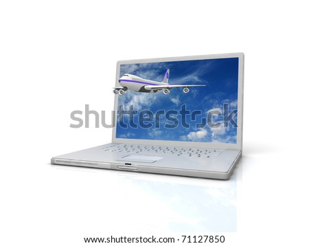 Professional Laptop and flying jet airplane - stock photo