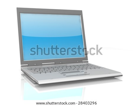 professional Laptop isolated on white background with reflection