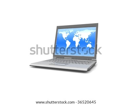 professional Laptop isolated on white background with world map